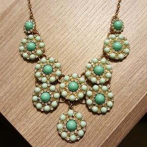 Turquoise Green Layered Circle Statement Necklace